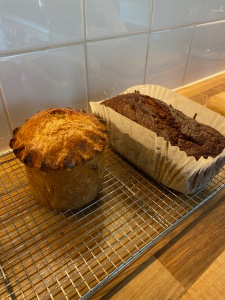 Raised pork pie and a date and walnut loaf